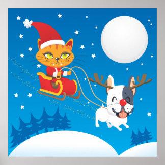 Santa Cat Sleigh Poster