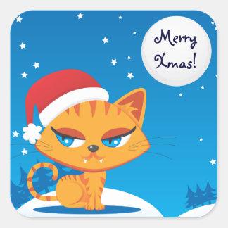 Santa Cat Square Sticker