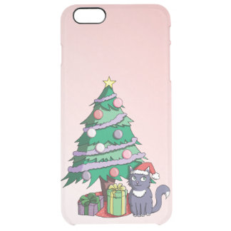Santa Cat Under a Christmas Tree Clear iPhone 6 Plus Case