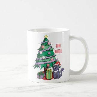 Santa Cat Under a Christmas Tree Illustration Coffee Mug