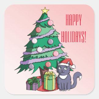 Santa Cat Under a Christmas Tree Illustration Square Sticker
