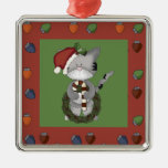 Santa Cat with Candy Cane and Wreath Christmas Ornament