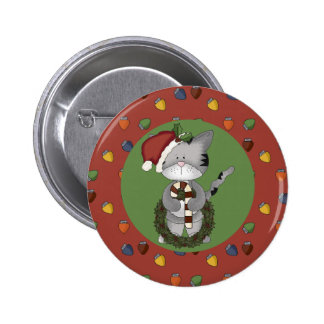 Santa Cat with Candy Cane and Wreath Pinback Button