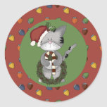 Santa Cat with Candy Cane and Wreath Round Sticker