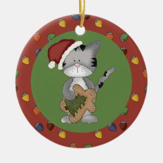 Santa Cat with Gingerbread Man Ceramic Ornament