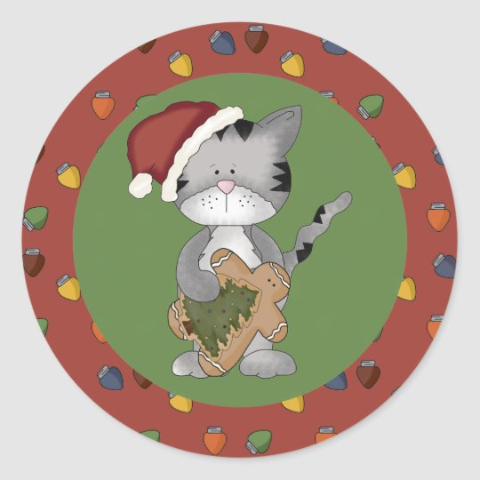 Santa Cat with Gingerbread Man Classic Round Sticker