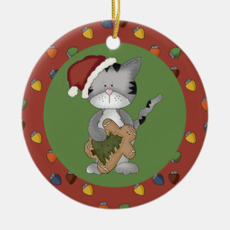 Santa Cat with Gingerbread Man Double-Sided Ceramic Round Christmas Ornament