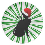 Santa Cat with Green Stripes Dinner Plates