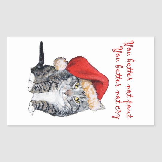 Santa Cat - You better not pout! Rectangular Sticker