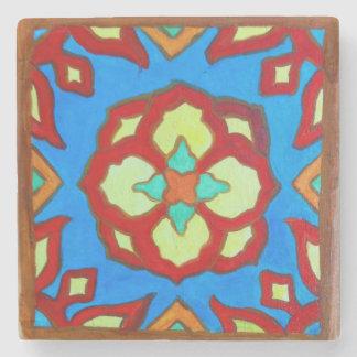 Santa Catalina Island Tile Magnet on Marble Lotus Stone Coaster