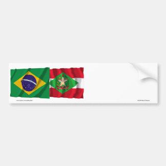 Santa Catarina & Brazil Waving Flags Bumper Sticker