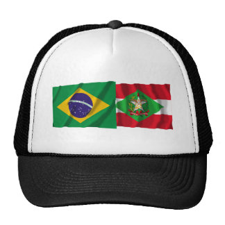Santa Catarina & Brazil Waving Flags Trucker Hat