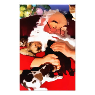 Santa Cats And Dogs Personalized Stationery