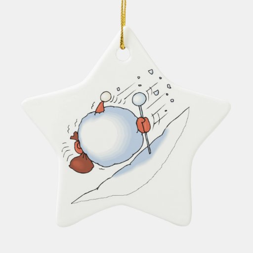 santa caught in snowball avalanche Double-Sided star ceramic christmas ornament
