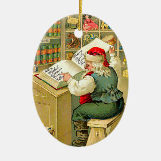 Santa Checking His List Ceramic Ornament