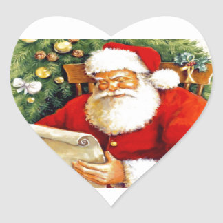 Santa Checking His List Heart Sticker