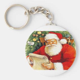 Santa Checking His List Keychain