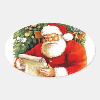 Santa Checking His List Oval Sticker