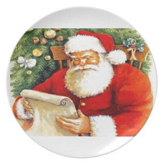 Santa Checking His List Plate