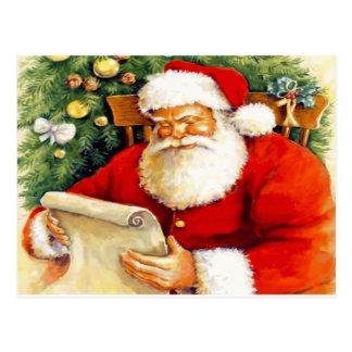 Santa Checking His List Postcard