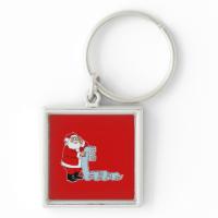 Santa checking his long list key chain