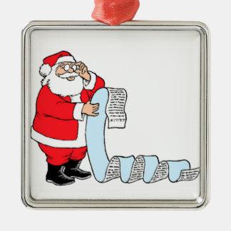 Santa Checking List Christmas Tree Ornament