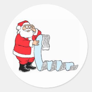 Santa Checking List Round Sticker