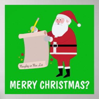 Santa Checking Naughty Nice List: Merry Christmas? Poster