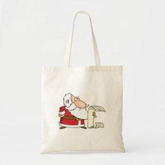 santa checking the naughty list budget tote bag