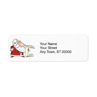 santa checking the naughty list label