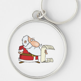 santa checking the naughty list Silver-Colored round keychain