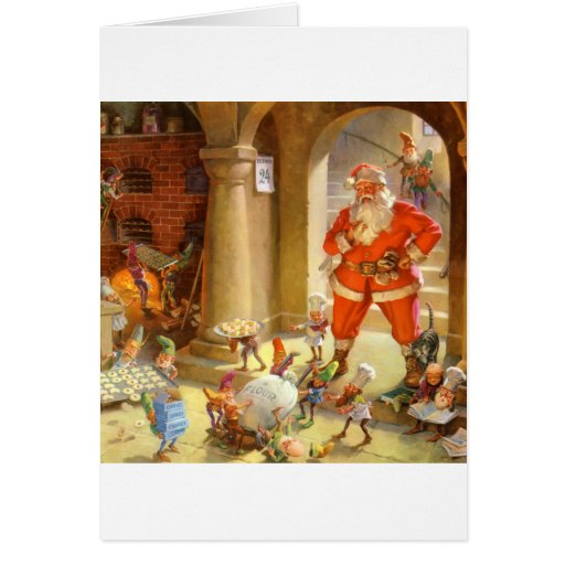 Santa Checks In With His Cookie Baking Elves Greeting Card