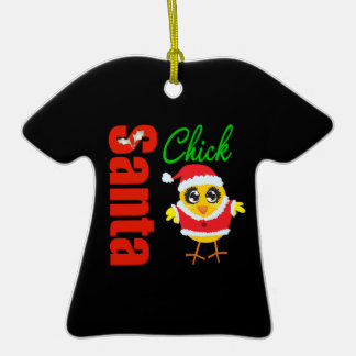 Santa Chick Christmas Double-Sided T-Shirt Ceramic Christmas Ornament