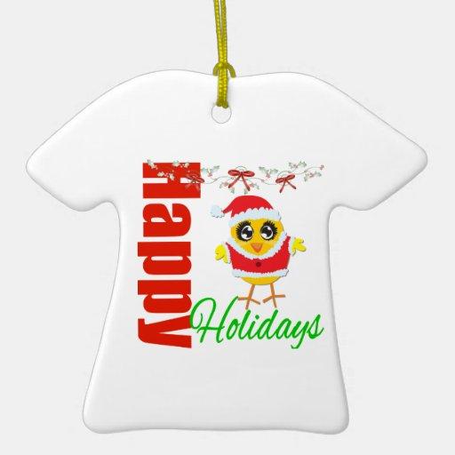 Santa Chick - Happy Holidays Double-Sided T-Shirt Ceramic Christmas Ornament