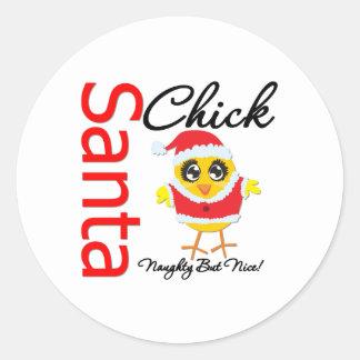 Santa Chick Naughty But Nice Classic Round Sticker