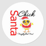 Santa Chick Naughty But Nice Round Sticker