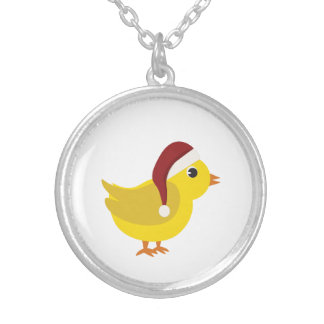 Santa chick silver plated necklace