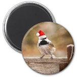 Santa Chickadee Fridge Magnet