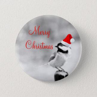 Santa Chickadee Pinback Button