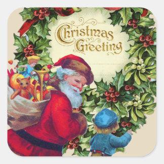 SANTA,CHILD,CHRISTMAS CROWN,HOLLYBERRY,MISTLETOES SQUARE STICKER