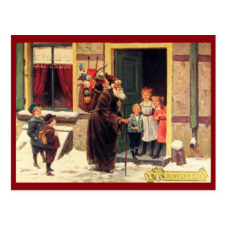 Santa & Children, Joyeux Noel Vintage Postcard