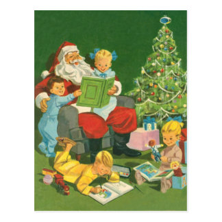 Santa Childrens storytime xmas holiday fun Postcard