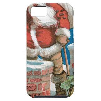 Santa, chimenea, luna, y estrellas iPhone 5 Case-Mate coberturas