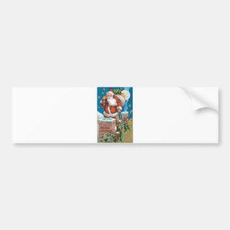 Santa, chimney, moon, and stars bumper stickers