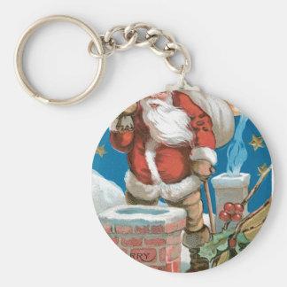 Santa chimney moon and stars keychain