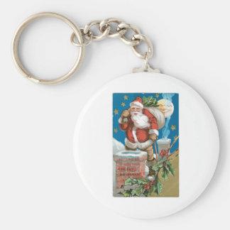 Santa chimney moon and stars key chain