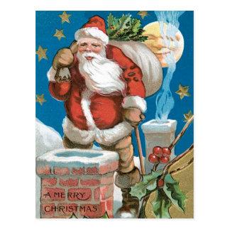 Santa chimney moon and stars post cards