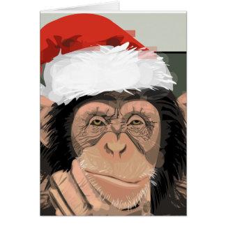 Santa Chimp Greeting Card
