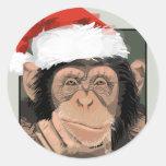 Santa Chimp Stickers