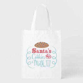 Santa chocolate chip cookies with milk grocery bag